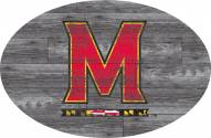 """Maryland Terrapins 46"""" Distressed Wood Oval Sign"""