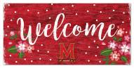 """Maryland Terrapins 6"""" x 12"""" Floral Welcome Sign"""