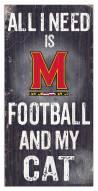 "Maryland Terrapins 6"" x 12"" Football & My Cat Sign"