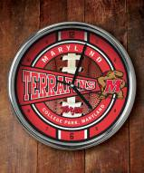 Maryland Terrapins Chrome Wall Clock