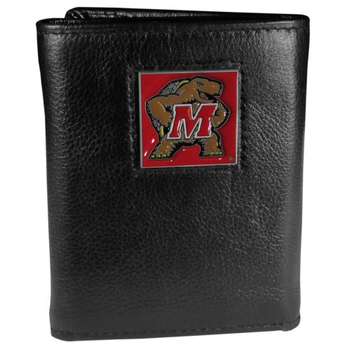 Maryland Terrapins Deluxe Leather Tri-fold Wallet in Gift Box