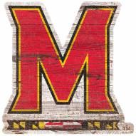 Maryland Terrapins Distressed Logo Cutout Sign