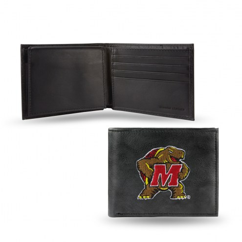 Maryland Terrapins Embroidered Leather Billfold Wallet