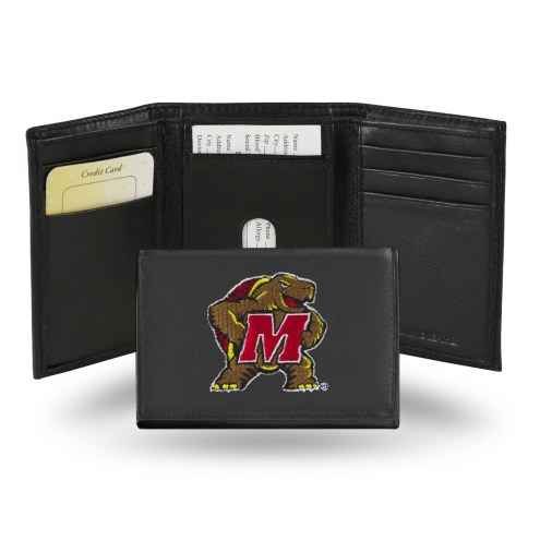Maryland Terrapins Embroidered Leather Tri-Fold Wallet