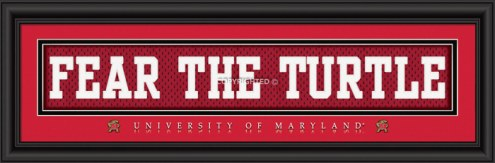"""Maryland Terrapins """"Fear The Turtle"""" Stitched Jersey Framed Print"""
