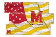 Maryland Terrapins Flag 3 Plank Sign