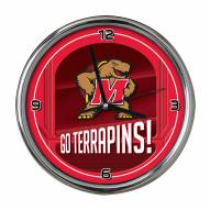 Maryland Terrapins Go Team Chrome Clock