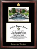 Maryland Terrapins Gold Embossed Diploma Frame with Campus Images Lithograph