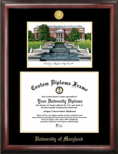 Maryland Terrapins Gold Embossed Diploma Frame with Lithograph