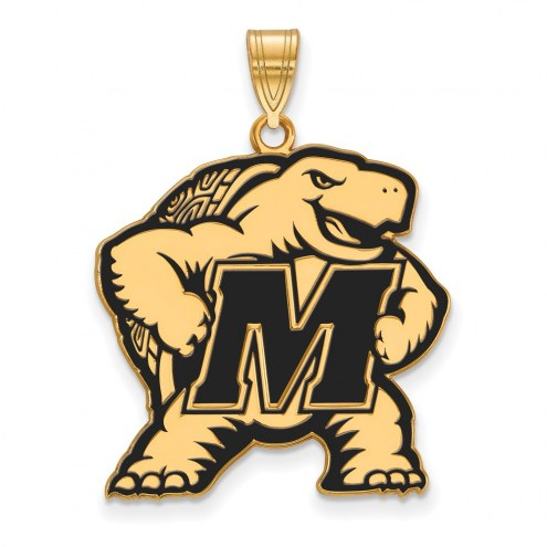 Maryland Terrapins Sterling Silver Gold Plated Extra Large Enameled Pendant