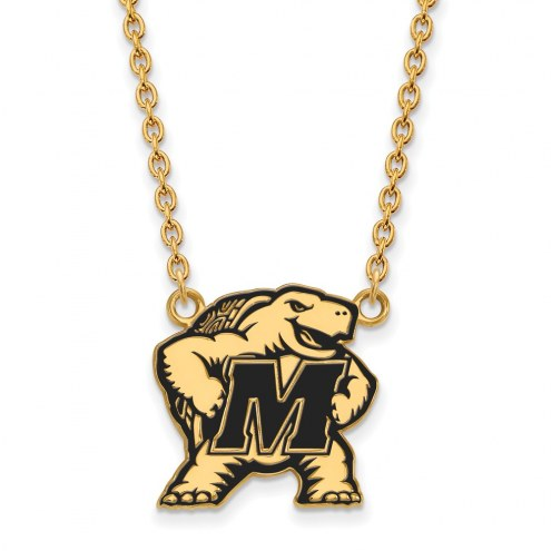 Maryland Terrapins Sterling Silver Gold Plated Large Enameled Pendant Necklace