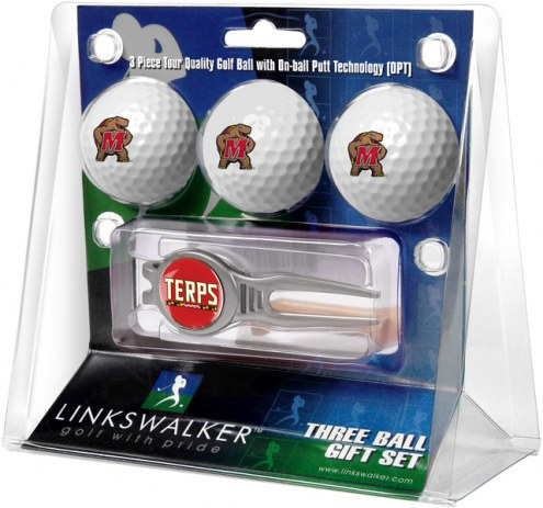 Maryland Terrapins Golf Ball Gift Pack with Kool Tool