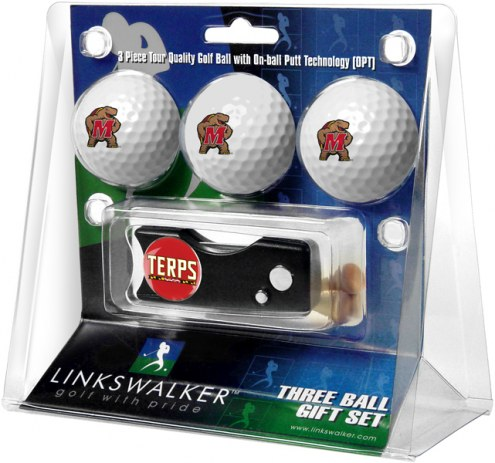 Maryland Terrapins Golf Ball Gift Pack with Spring Action Divot Tool