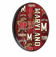 Maryland Terrapins Digitally Printed Wood Clock