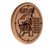 Maryland Terrapins Laser Engraved Wood Clock