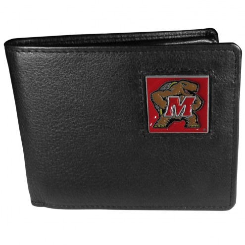 Maryland Terrapins Leather Bi-fold Wallet in Gift Box