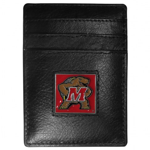 Maryland Terrapins Leather Money Clip/Cardholder in Gift Box