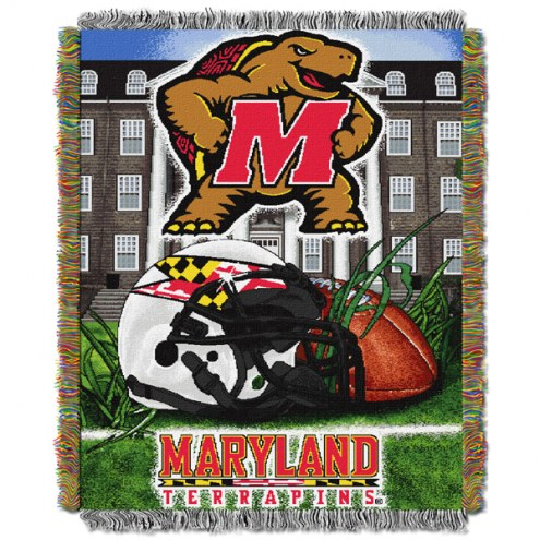 Maryland Terrapins NCAA Woven Tapestry Throw / Blanket