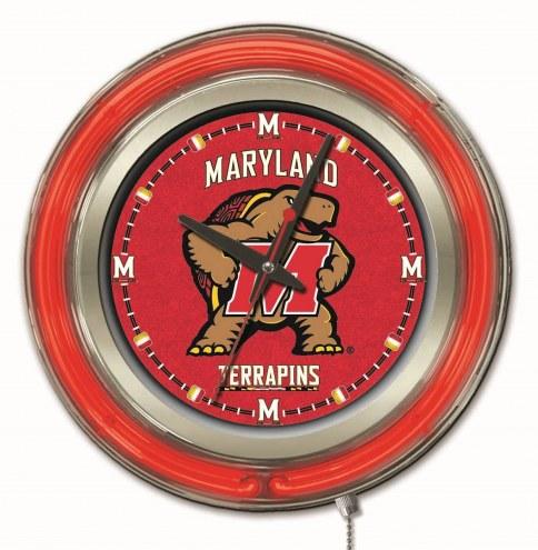 Maryland Terrapins Neon Clock