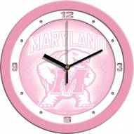Maryland Terrapins Pink Wall Clock
