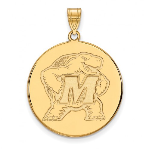 Maryland Terrapins Sterling Silver Gold Plated Extra Large Disc Pendant