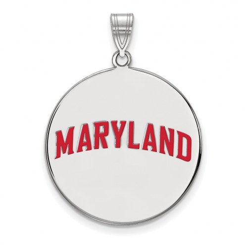 Maryland Terrapins Sterling Silver Extra Large Enameled Disc Pendant