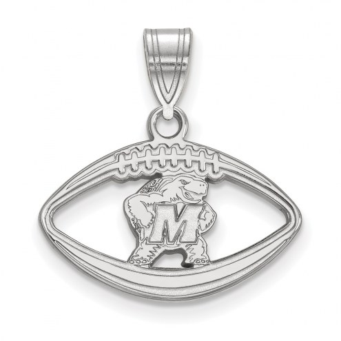 Maryland Terrapins Sterling Silver Football Pendant