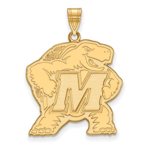 Maryland Terrapins Sterling Silver Gold Plated Extra Large Pendant