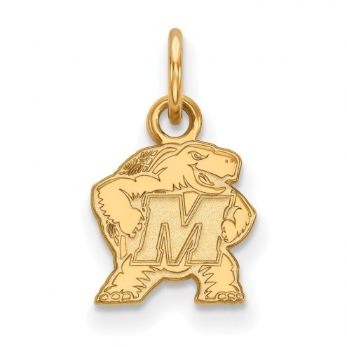 Maryland Terrapins Sterling Silver Gold Plated Extra Small Pendant