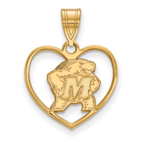 Maryland Terrapins Sterling Silver Gold Plated Heart Pendant