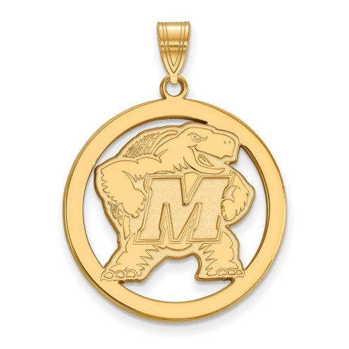 Maryland Terrapins Sterling Silver Gold Plated Large Circle Pendant