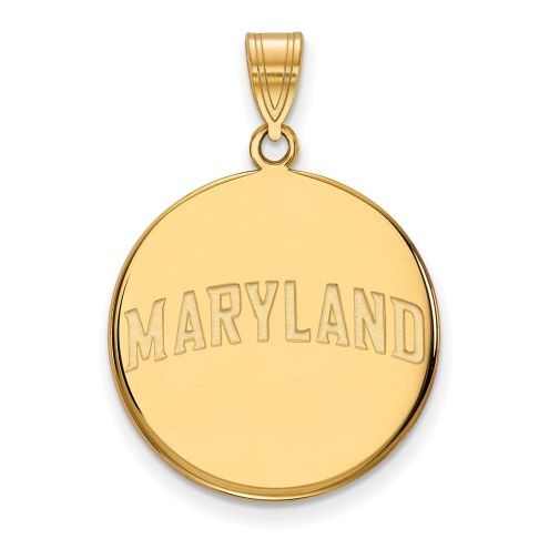 Maryland Terrapins Sterling Silver Gold Plated Large Disc Pendant