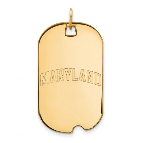 Maryland Terrapins Sterling Silver Gold Plated Large Dog Tag