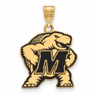 Maryland Terrapins Sterling Silver Gold Plated Large Enameled Pendant