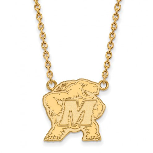 Maryland Terrapins Sterling Silver Gold Plated Large Pendant Necklace
