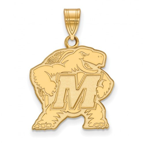 Maryland Terrapins Sterling Silver Gold Plated Large Pendant