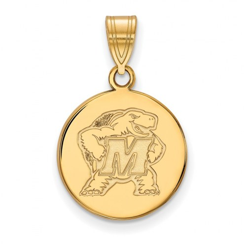 Maryland Terrapins Sterling Silver Gold Plated Medium Disc Pendant