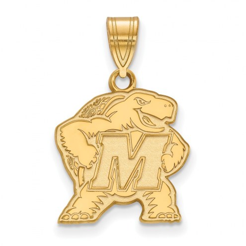 Maryland Terrapins Sterling Silver Gold Plated Medium Pendant