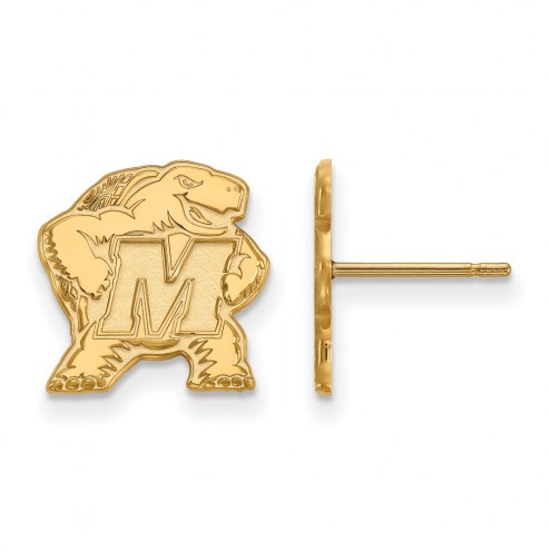 Maryland Terrapins Sterling Silver Gold Plated Small Post Earrings