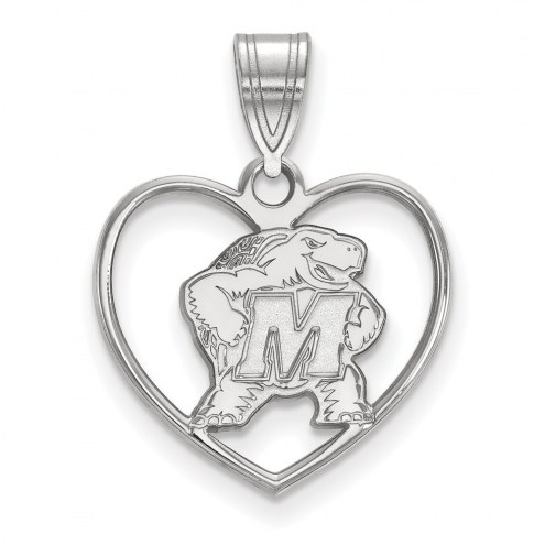 Maryland Terrapins Sterling Silver Heart Pendant