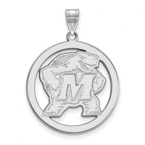 Maryland Terrapins Sterling Silver Large Circle Pendant