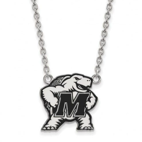Maryland Terrapins Sterling Silver Large Enameled Pendant Necklace