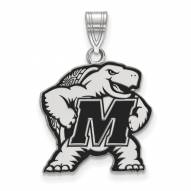 Maryland Terrapins Sterling Silver Large Enameled Pendant