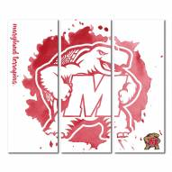 Maryland Terrapins Triptych Watercolor Canvas Wall Art