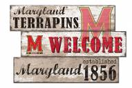 Maryland Terrapins Welcome 3 Plank Sign