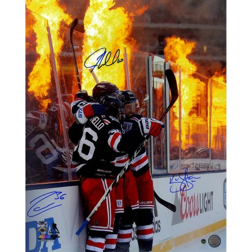 Mats Zuccarello/JT Miller/Kevin Shattenkirk Triple Signed '2018 Winter Classic Celebration Flames Background' 16x20 Photo