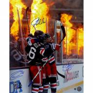 Mats Zuccarello/JT Miller/Kevin Shattenkirk Triple Signed '2018 Winter Classic Celebration Flames Background' 16 x 20 Photo