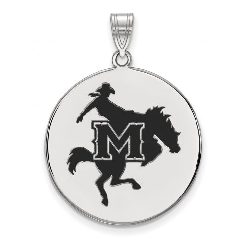 McNeese State Cowboys Sterling Silver Extra Large Enameled Disc Pendant