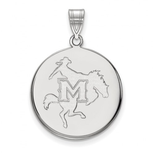 McNeese State Cowboys Sterling Silver Large Disc Pendant