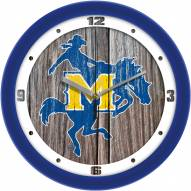 McNeese State Cowboys Weathered Wood Wall Clock